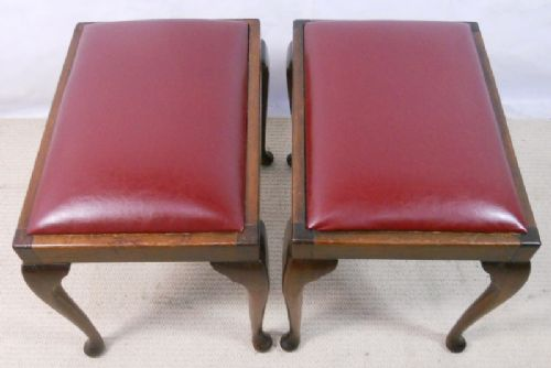Pair Mahogany Dressing Stools with Faux Leather Seats